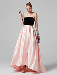 cheap -A-Line Strapless Asymmetrical Satin / Velvet Color Block Prom / Formal Evening Dress with Pleats by TS Couture®