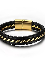 cheap -Men's Leather 1pc Chain Bracelet - Fashion Circle Black Bracelet For Gift Daily