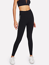 cheap -Women's Sporty Legging - Print, Letter Mid Waist