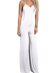 cheap -Women's Jumpsuit - Solid Color Fashion, Backless Holiday Sexy High Rise Wide Leg Strap