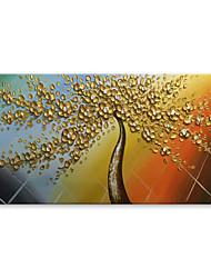 Ručno oslikana Sažetak Cvjetni / Botanički Horizontalan, Comtemporary Moderna Platno Hang oslikana uljanim bojama Početna Dekoracija