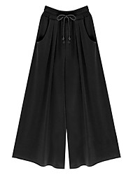 cheap -Women's Plus Size Cotton Loose Wide Leg Pants - Solid Colored Basic