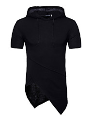 cheap -Men's Street chic Cotton Slim T-shirt - Solid Colored Hooded