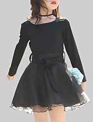 cheap -Girl's Daily Going out Patchwork Dress, Rayon Polyester Spring Fall Long Sleeves Casual Black