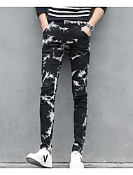 cheap -men's normal mid rise micro-elastic jeans pants, street chic geometric polyester all seasons