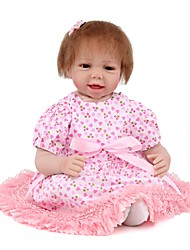 cheap -NPK DOLL Reborn Doll Baby Girl 22 inch Silicone / Vinyl - lifelike, Hand Applied Eyelashes, Tipped and Sealed Nails Kid's Unisex Gift / Natural Skin Tone / Floppy Head
