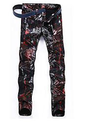 cheap -Men's Street chic / Punk & Gothic Plus Size Cotton Jeans / Chinos Pants - Abstract Print / Sports