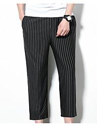 Недорогие -мужской нормальный средний рост микро-эластичный широкий штаны ноги, простой полосатый полиэстер / хлопок смесь весна лето