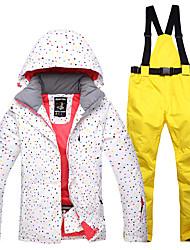 Недорогие -Жен. Лыжная куртка и брюки С защитой от ветра, Водонепроницаемость, Теплый Катание на лыжах Хлопок Зимняя куртка / Снегурочка Одежда для катания на лыжах
