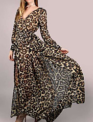 cheap -Women's Basic Cotton Sheath Dress - Leopard Maxi V Neck