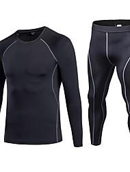 baratos -Homens activewear Set Manga Longa / Pant Long Respirabilidade Conjuntos de Roupas para Fitness Poliéster Azul / Vermelho / Branco /