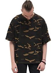 abordables -Hombre Activo Básico Camiseta A Lunares A Rayas camuflaje