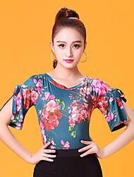 cheap -Ballroom Dance Tops Women's Performance Ice Silk Pattern / Print Ruching Short Sleeves Top