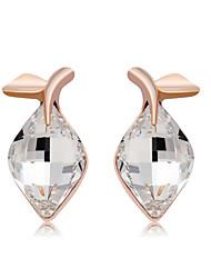 abordables -Mujer Cristal Pendientes cortos - Oro rosa, Cristal Forma de Hoja Moda, Elegante Oro / Blanco Para Fiesta / Noche / Formal