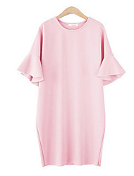Недорогие -Жен. Большие размеры Классический Свободный силуэт Платье - Однотонный Выше колена