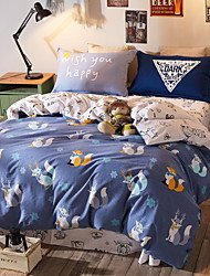 cheap -Duvet Cover Sets Cartoon 4 Piece Poly/Cotton Reactive Print Poly/Cotton 1pc Duvet Cover 2pcs Shams 1pc Flat Sheet