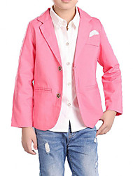 cheap -Boys' Daily Solid Print Suit & Blazer, Cotton Polyester Spring Fall Long Sleeves Simple Casual Blue Blushing Pink