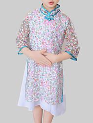 abordables -Robe Fille de Quotidien Sortie Fleur Mosaïque Rayonne Polyester Printemps Automne Manches 3/4 Chinoiserie Blanc