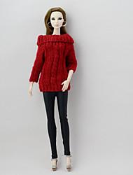 Недорогие -Кукольный кардиган и свитер Отдельные органов Брюки 2 pcs Для Barbie Мода Красный + черный текстильный Полиэстер / Хлопок Шерстяная ткань Кофты / Брюки Для Девичий игрушки куклы