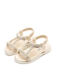cheap -Girls' Shoes PU Leather Summer Comfort Sandals Rhinestone for Casual Dress Gold Silver Pink