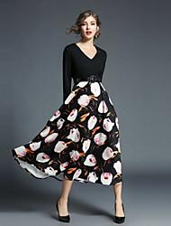 cheap -Seduction Gold House Women's Holiday Street chic Slim Swing Dress - Floral Print V Neck