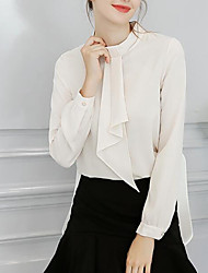 cheap -Women's Cute Basic Puff Sleeve Loose Blouse - Solid Colored Stand