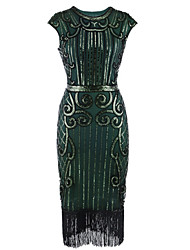 cheap -The Great Gatsby 1920s Costume Women's Flapper Dress Black+Sliver / Bule / Black / Red Vintage Cosplay Polyester Sleeveless Tea Length Halloween Costumes / Sequins