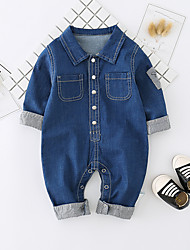 cheap -Baby Unisex Daily Solid One-Pieces, Cotton Spring Summer Cute Active Half Sleeves Blue