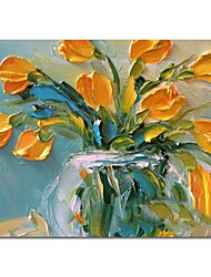 baratos -Pintura a Óleo Pintados à mão - Vida Imóvel Floral / Botânico Contemprâneo Modern Tela de pintura
