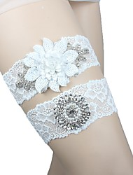 cheap -Spandex Lace Wedding Garter with Lace Sashes/ Ribbons Floral Paillette Pocket Garters Wedding