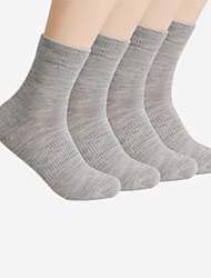 billige Undertøy og sokker til herrer-Herre Normal Sokker Normal Ensfarget Bomull, 4 Svart Mørkegrå Navyblå Lyseblå