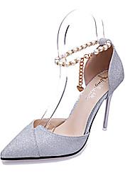 preiswerte -Damen Schuhe PU Sommer Komfort Sandalen Walking Blockabsatz Runde Zehe Kette für Normal Gold Schwarz Silber