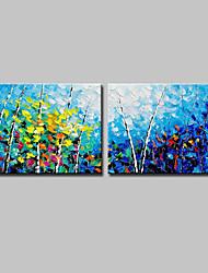 Недорогие -Ручная роспись Пейзаж Цветочные мотивы/ботанический Горизонтальная, Modern холст Hang-роспись маслом Украшение дома 2 панели