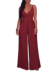 cheap -Women's Club Halter Wide Leg Jumpsuits,Solid Fashion Backless Holiday Sexy High Rise