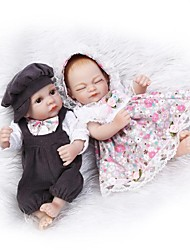 cheap -NPK DOLL Reborn Doll Baby Girl 10 inch Full Body Silicone Silicone Vinyl - lifelike Hand Applied Eyelashes Tipped and Sealed Nails Kid's Unisex / Girls' Toy Gift / Natural Skin Tone / Floppy Head