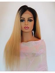 Недорогие -Не подвергавшиеся окрашиванию Лента спереди Парик Бразильские волосы Прямой Парик С пушком 150% Природные волосы Жен. Длинные Парики из натуральных волос на кружевной основе / Прямой силуэт