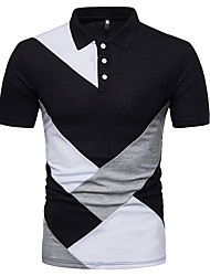 abordables -Polo Homme, Couleur Pleine - Coton Actif / Basique / Chinoiserie Col de Chemise
