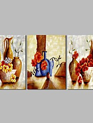 cheap -Oil Painting Hand Painted - Abstract Still Life Vintage Canvas Three Panels