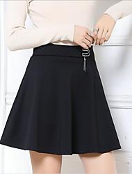 preiswerte -Damen A-Linie Röcke - Solide, Schößchen Rüsche