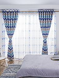 cheap -Blackout Curtains Drapes Bedroom Damask Graphic Prints Polyester Blend Printed