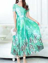 cheap -Women's Sophisticated Boho Slim Sheath Dress - Floral, Print U Neck