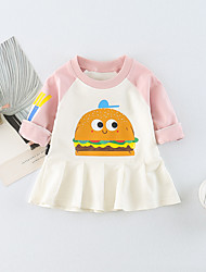 cheap -Baby Girl's Daily Print Dress Spring Summer Casual Active Long Sleeves Blushing Pink Navy Blue Yellow