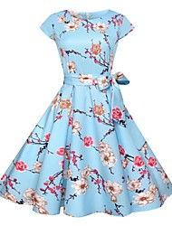 billige -Dame Tynd Swing Kjole - Blomstret, Trykt mønster