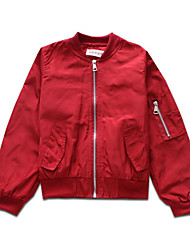 cheap -Girls' Daily Sports Solid Colored Print Jacket & Coat, Polyester Spring Fall Long Sleeves Simple Casual Black Wine