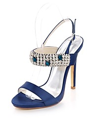Mulheres Sapatos Cetim Primavera Verão Plataforma Básica Sandálias Salto Agulha Dedo Aberto Pedrarias Presilha para Casamento Festas &