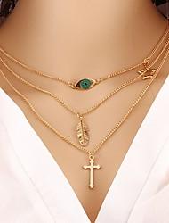 Недорогие -Жен. Слоистые ожерелья  -  Крест, В форме листа Классика, Мода Золотой Ожерелье Назначение Подарок, Повседневные