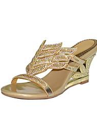 baratos -Mulheres Sapatos Poliuretano Primavera / Verão Botas da Moda Sandálias Salto Plataforma Dedo Aberto Pedrarias / Cristais / Gliter com