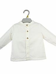 Недорогие -малыш Мальчики Простой / На каждый день Повседневные Однотонный Чистый цвет Длинный рукав Обычный Хлопок Рубашка Белый