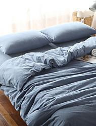cheap -Duvet Cover Sets Solid 4 Piece Poly/Cotton Quilted Poly/Cotton 1pc Duvet Cover 2pcs Shams 1pc Flat Sheet