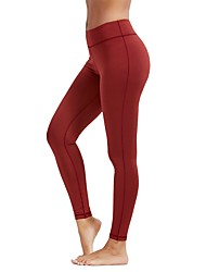 cheap -Women's Yoga Pants - Blue, Dark Gray, Rust Red Sports Solid Color High Rise Tights / Leggings Running, Fitness, Gym Activewear Quick Dry, Breathable, Butt Lift Stretchy